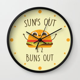 Sun's Out, Buns Out, Funny, Cute, Quote Wall Clock