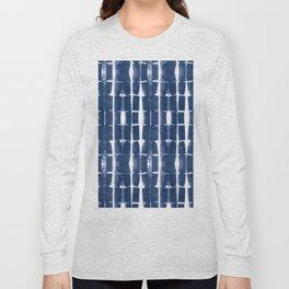 Shibori Stripes 3 Indigo Blue Long Sleeve T-shirt
