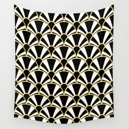 Black, White and Gold Classic Art Deco Fan Pattern Wall Tapestry