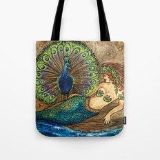 Mermaid and Peacock Tote Bag