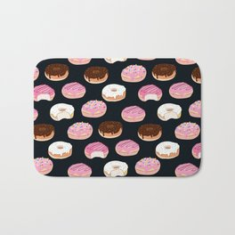 Donuts pattern pink and chocolate in a dark background Bath Mat