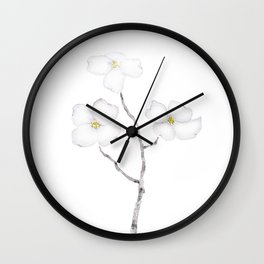 white dogwood flower watercolor Wall Clock