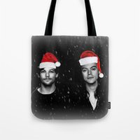 larry stylinson Tote Bags featuring Larry Stylinson Christmas B&W by girllarriealmighty