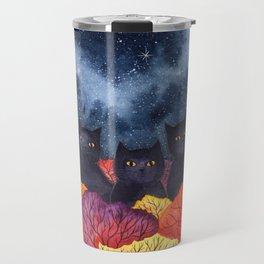 Three Black Cats in Autumn Watercolor Travel Mug