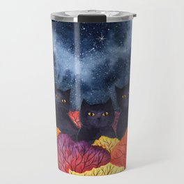 Three Black Cats in Autumn Watercolor Travel Mug