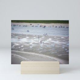 Low Tide Ponce Inlet Beachgoers Florida Atlantic Coast Beach  Mini Art Print