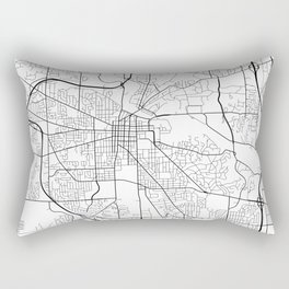 Ann Arbor Map, USA - Black and White Rectangular Pillow