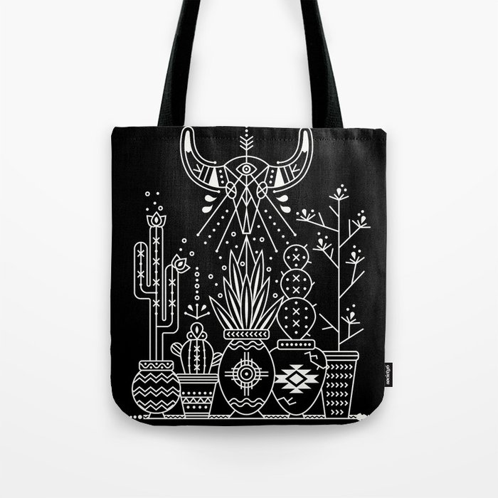 Santa Fe Garden – White Ink on Black Tote Bag