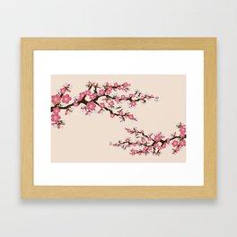 Japanese Sakura Cherry Blossoms (ivory/pink) Framed Art Print