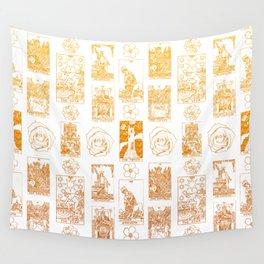 Beautiful Golden Tarot Card Print Wall Tapestry