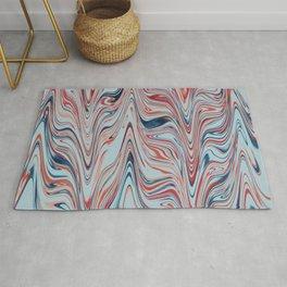 Digital marbling in azure and red tones Rug