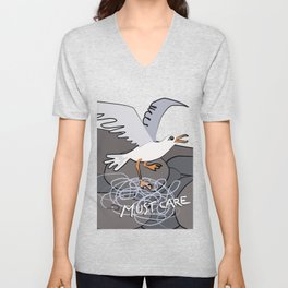 Trapped Seagull - Must Care Unisex V-Neck