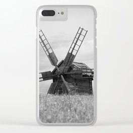 Windmill and tree Clear iPhone Case