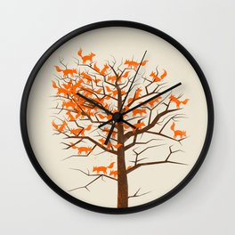 Blazing Fox Tree Wall Clock