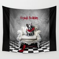 french bulldog Wall Tapestries featuring French Bulldog by BabsArtCreations