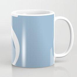 number five sign on placid blue color background Coffee Mug