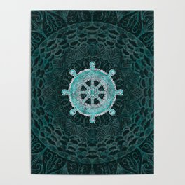 Dharma Wheel - Dharmachakra Silver and turquoise Poster