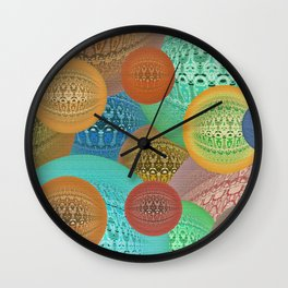 Retro Vintage Knitted Spheres Wall Clock