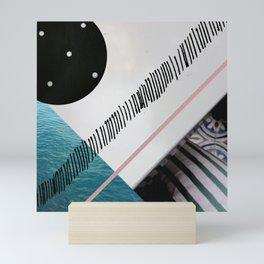 Digital collage, digital art, blue, gray, geometric Mini Art Print
