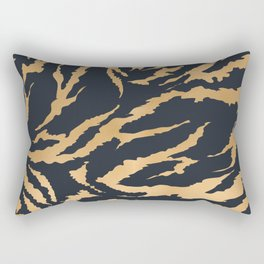 Tiger Fur Pattern (Navy & Gold) Rectangular Pillow