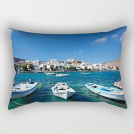 The small harbor in the fishing village Panormos in Tinos island, Greece Rectangular Pillow
