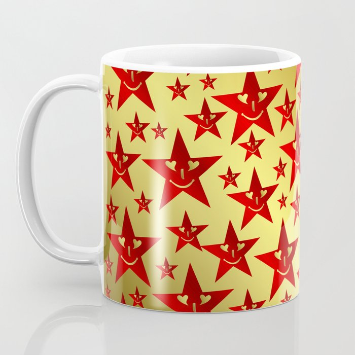 red, stars, face, laugh, smile, gold, pattern, colorful, christmas, motive, Coffee Mug