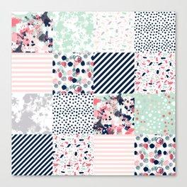Patchwork quilt cheater quilt pattern gender neutral nursery baby decor Canvas Print