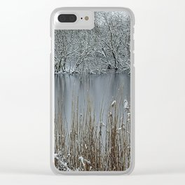 Icy Winter Lake with Frozen Trees and Reeds Clear iPhone Case