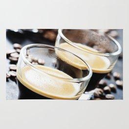 Cups of Espresso on dark rustic background Rug