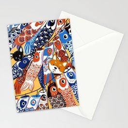Shiba and koinobori lanterns print Stationery Cards