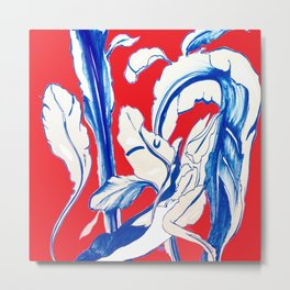Plant in Blue Marker - Leaf of Life Miracle Leaf - RED Metal Print