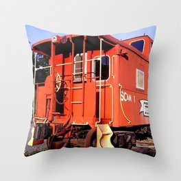 Lil Red Caboose -Wellsboro Ave Hurley ArtRave Throw Pillow