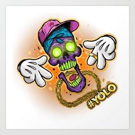 YOLO Skull Art Print