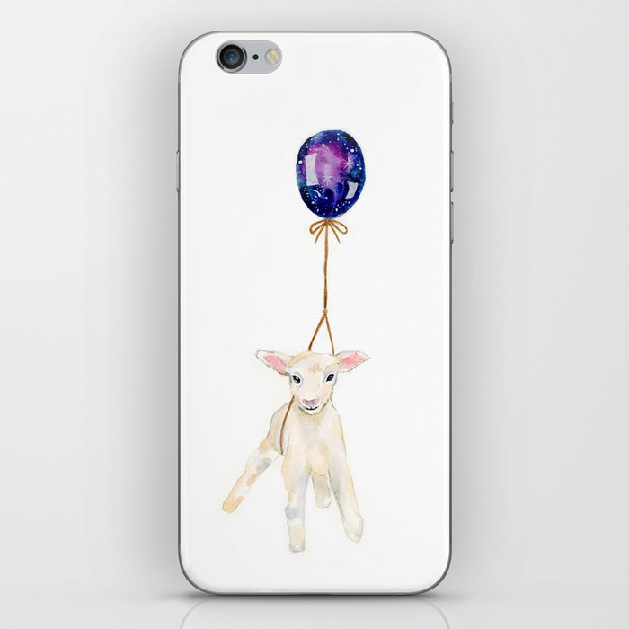 flying sheep with galaxy balloon watercolor painting  iPhone Skin