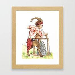 Faun pin up: October Builder Framed Art Print