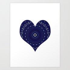 Mandala Heart in blue Art Print