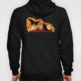 Godzilla versus Mothra cityscape Hoody