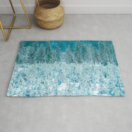 Tiny Forest // Snow Covered Evergreen Trees Spring Snow in the Mountains Cool Moody Photograph Rug