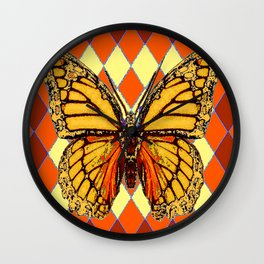 MONARCHS BUTTERFLY  &  ORANGE-BROWN HARLEQUIN PATTERN Wall Clock