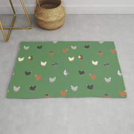 Yard Hens in Green Rug