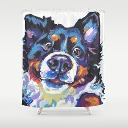 Berner Bernese Mountain Dog Portrait Pop Art painting by Lea Shower Curtain
