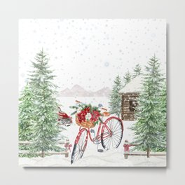 Winter Bicycle Metal Print