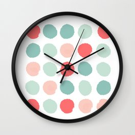 Dots painted coral minimal mint teal bright southern charleston decor colors Wall Clock