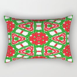Red, Green and White Kaleidoscope 3372 Rectangular Pillow