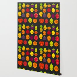 kawaii fruit Pear Mangosteen tangerine pineapple papaya persimmon pomegranate lime Wallpaper
