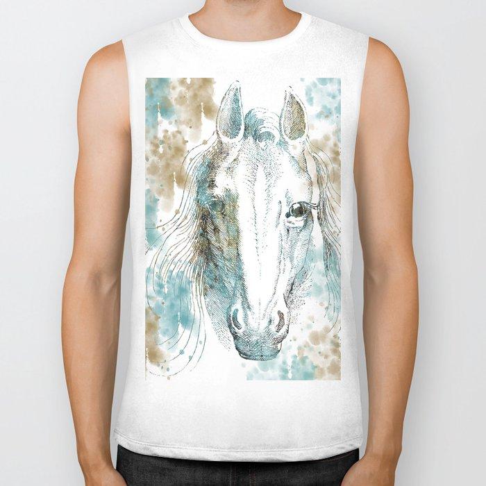 Watercolor Horse Biker Tank