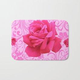 BEAUTIFUL  PINK ROSE SCROLLS GARDEN ART Bath Mat