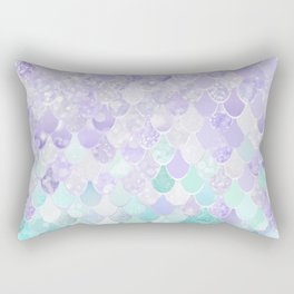 Mermaid Iridescent Purple and Teal Pattern Rectangular Pillow