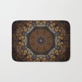 Rich Brown and Gold Textured Mandala Art Bath Mat