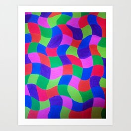 Neon Checkers Art Print